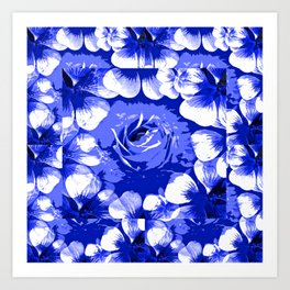 Roses Blue and White Toile #2 Art Print