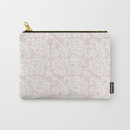 Elegant coral white modern floral lace pattern Carry-All Pouch