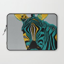 Zebra on grey Laptop Sleeve
