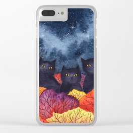 Three Black Cats in Autumn Watercolor Clear iPhone Case