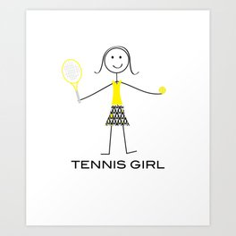 Funny Womens Tennis Girl Art Print