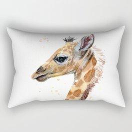 Giraffe Watercolor Cute Baby Animals Whimsical Art Rectangular Pillow