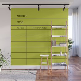 LiBRARY BOOK CARD (lime) Wall Mural