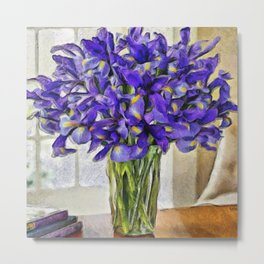 Irises in Vase Metal Print