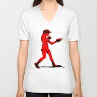 boxing V-neck T-shirts featuring Boxing 2 by Rachel E. Morris