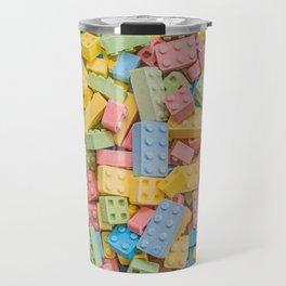 Candy Building Blocks, Multicolored Pastel Pattern Travel Mug