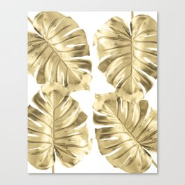 Gold Monstera Leaves on White Canvas Print