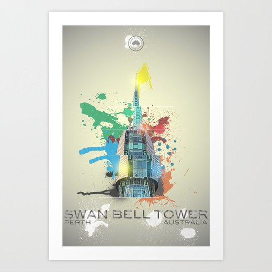 Swan Bell Tower Abstract Art Print
