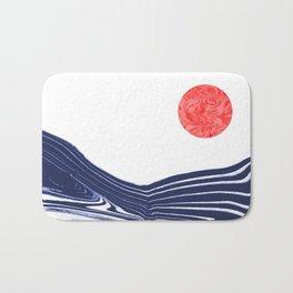Furoshi - spilled ink marble water wave painting sun sea waves water aqua seaside abstract minimal  Bath Mat