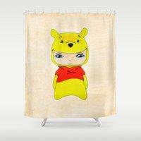 pooh Shower Curtains featuring A Boy - Winnie-the-Pooh by Christophe Chiozzi