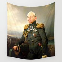 """bill murray Wall Tapestries featuring Sir Bill """"No One Will Ever Believe You"""" Murray by kamonkey"""