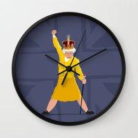 queen Wall Clocks featuring QUEEN by Bakus