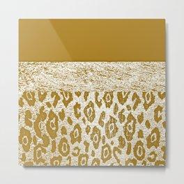 Animal Print Golden Cream Pattern Metal Print