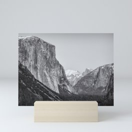 El Capitan, Half Dome and Sentinel Rock from Tunnel View bw Mini Art Print