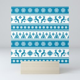 Christmas Holiday Nordic Pattern Cozy Mini Art Print