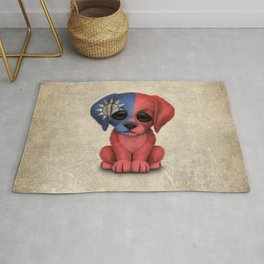 Cute Puppy Dog with flag of Taiwan Rug