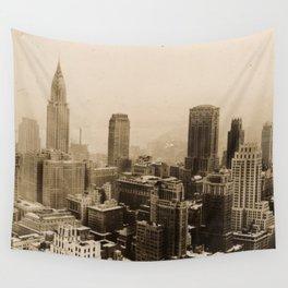Vintage New York City Skyline Photograph (1935) Wall Tapestry