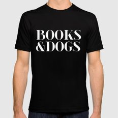 Books&Dogs - Black and White (inverted) Mens Fitted Tee 2X-LARGE Black