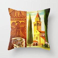 Aquileia Italy - Vintage Travel Throw Pillow