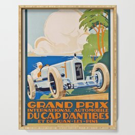 French Vintage Grand Prix poster Serving Tray