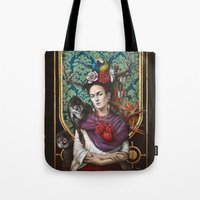 frida kahlo Tote Bags featuring Frida kahlo by Sophie Wilkins