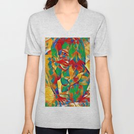 3334s-SRC Abstract Woman with Blue Eyes Rendered in Color and Style Unisex V-Neck
