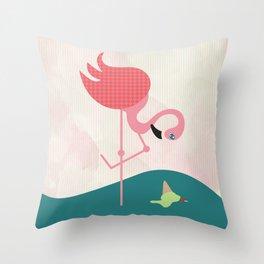 Flamingo had ice cream Throw Pillow