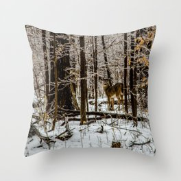 Deer in the Glistening Forest by Teresa Thompson Throw Pillow