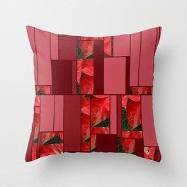 Mottled Red Poinsettia 1 Ephemeral Art Rectangles 8 Throw Pillow
