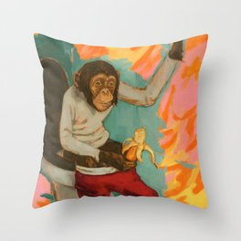 """Primitive Neurological Circuitry (Chimp on Toilet)"" Throw Pillow"
