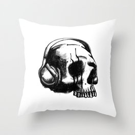 Skull DJ Throw Pillow