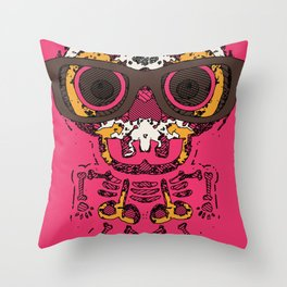 funny skull and bone graffiti drawing in orange brown and pink Throw Pillow