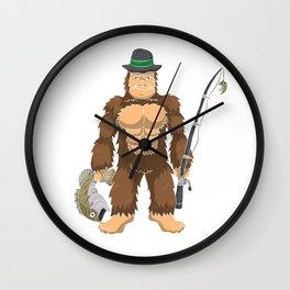 Bigfoot Bass Fishing T Shirt Sasquatch Fisherman Men Gift Wall Clock