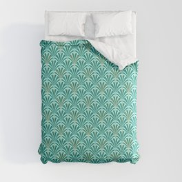 Art Deco Fan Pattern Turquoise on Aqua Comforters