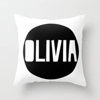 charmaine olivia Throw Pillows featuring Olivia by Amy Lovesowls