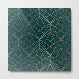 Hidden Sapphire Geometric Gold Pattern With White Shimmer  Metal Print