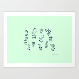 Cactus and Mint Art Print
