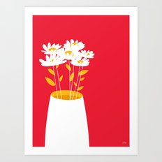 Flowers on Red by Friztin Art Print