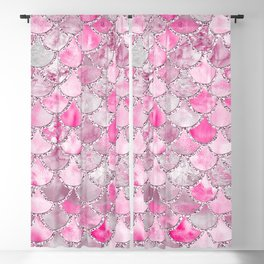 Trendy Colorful Pink Watercolor Glitter Mermaid Scales Blackout Curtain