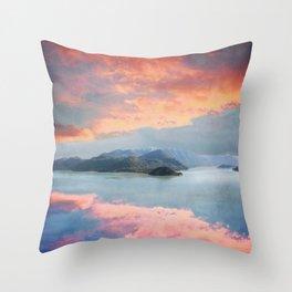 Sunset Over Lake Como Italy Throw Pillow