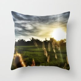 grass and rice field sunset sunrise tropical design Throw Pillow