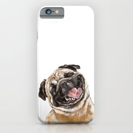 Happy Laughing Pug iPhone Case