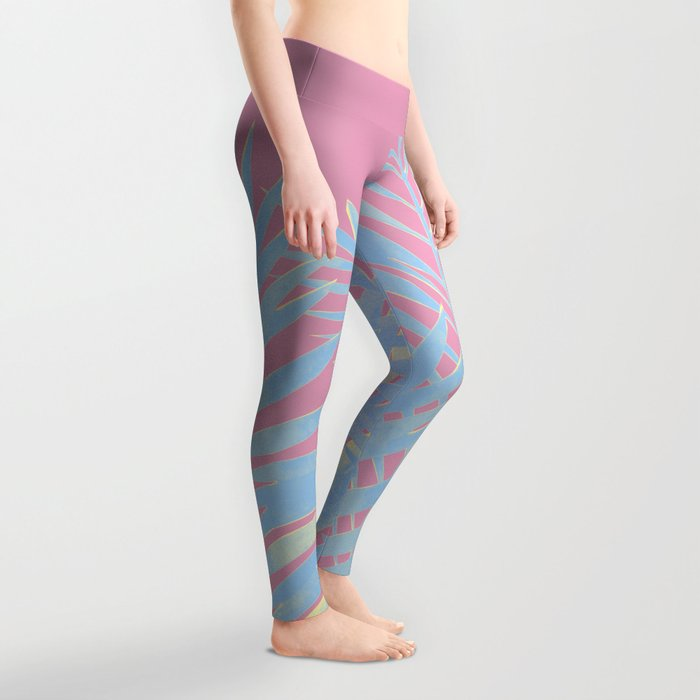 Palm Leaves Blue And Pink Leggings