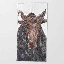 Moose with Baubles Beach Towel