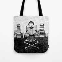 bookworm Tote Bags featuring Bookworm by kate gabrielle