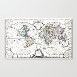 World map wall art 1632 dorm decor mappemonde Canvas Print