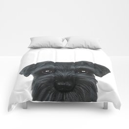 New Black Schnauzer, Dog illustration original painting print Comforters