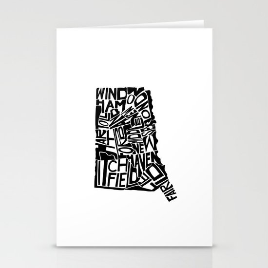 Typographic Connecticut Stationery Cards