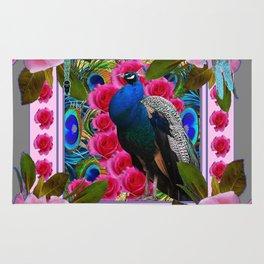BLUE DRAGONFLIES PEACOCK & PINK ROSES ART Rug