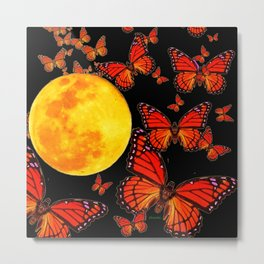 Decorative Full Moon & Monarch Butterflies Art Metal Print